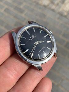 36mm Borgel Case Mido Multifort Powerwind Black Gilt Dial Vintage Watch Rare Fb