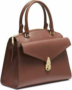 CALVIN KLEIN Lock Brown Satchel Leather Strap Handbag NEW🔥