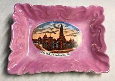 Antique Souvenir of Philadelphia PA City Hall German Made Pink Pin Trinket Tray
