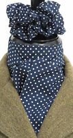 Ready Tied Navy Blue & White Pin dot Cotton Stock & Scrunchie Hunting/Dressage
