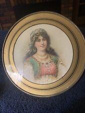 Gorgeous Chimney Flue Cover German Gypsy Glitter Dress & Hat Round Glass Vintage