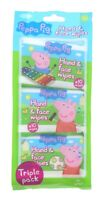 3 x Peppa Pig Hand & Face Wipes 10 Wipes Each Pack Childrens Kids No Parabens