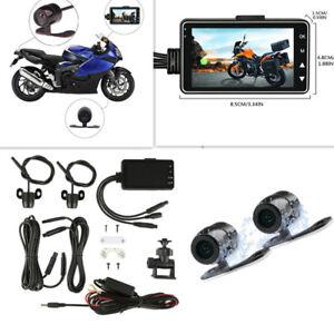 Motorcycle Camera DVR Dash Cam Dualtrack Portable Front Rear Camcorders Recorder