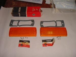 NOS LUCAS PAIR Front Side Marker Lenses Triumph TR7 TR8  w/ Gaskets + screw pack