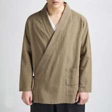 Mens Chinese Casual Linen Tang Suit Jacket Martial Art Kung Fu Coat Tai Chi Top