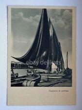 PESCARA barca vela pesca preparativi di partenza vecchia cartolina