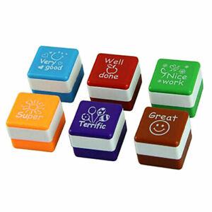 Set 6PCS School Teacher Merit Stamp Homework Self Inking Rubber Cartoon Stamps