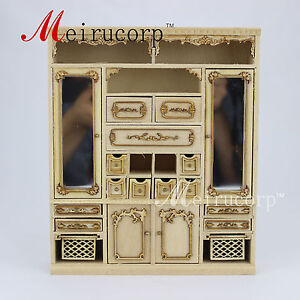 Unpainted 1:12 scale miniature Hand Carved  Main cabinet for dollhouse