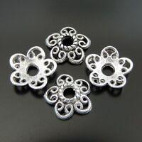 120pcsVintage Silver Heart Flower Beads Cap Pendant Findings11*11*2mm 39373