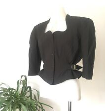 Thierry Mugler 80s Cotton Jacket, Black, Size FR40, Excellent Condition