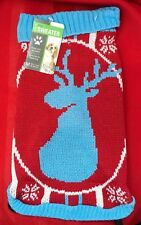 """Unique Petz Boutique cat Dog Pet Deer Sweater Size M (12"""" Length) NWT"""
