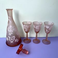 Vintage Glass Mcm Decanter 3 Cordial Drinking Glasses Barware Frosted Pink 4 Pcs