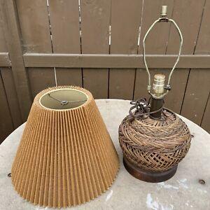 Vintage 3-Way Wicker Table Lamp w/ Matching Shade Metal Frames Boho Y2K