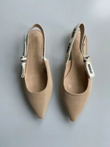 Auth Christian Dior Beige Technical Fabric J'adior Slingback Flats in size 37