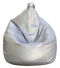 FODERA POLTRONA SACCO POUF POUFF PUFF BEANBAGS IN ECOPELLE ARGENTO