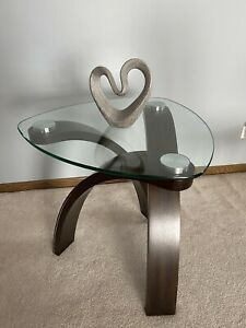 Glass Top Triangular Cocktail Coffee Table Criss-Crossed Arched Curved Base Legs