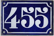 Old blue French house number 455 door gate plate plaque enamel metal sign c1900