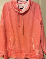 NEW Womens Neon Coral Burn Out Sweatshirt $70 Faded Shirt XL/L Large Top Comfort