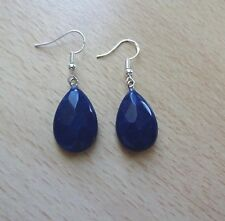 Simple LAPIS LAZULI gemstone drop  EAR RINGS St Silver Gift wrapped