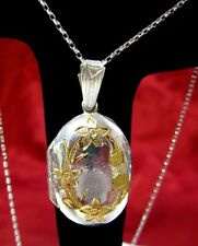 925 STERLING SILVER GOLD OVER SILVER FLOWER ENGRAVED OVAL LOCKET PENDANT W/CHAIN