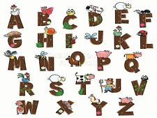 ART PRINT kids PAINTING CARTOON ALPHABET ANIMALS FARM CHILDREN VECTOR LFMP0136
