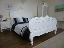 French Shabby Chic Style Double Bed In White - SOLD AS A SECOND