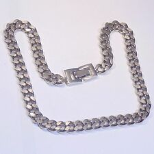 Vintage signed Brookcraft heavy silver tone curb chain choker necklace, c. 1940s