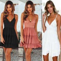 Women Summer Boho Short Mini Dress Evening Cocktail Party Beach Dresses Sundress