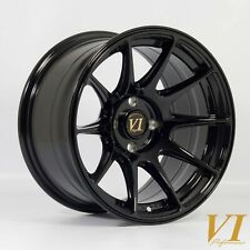 "4 x ViP BDR CONCAVE Gloss Black 15"" x 8.25"" 4x100 et0 alloys fit Mazda Mx5 Civic"
