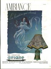 Publicité ancienne lampe Ariane issue de magazine R. Tourchie
