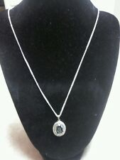 Vintage Silvertone Necklace Chain Black Stone with Etched Angel Trumpets
