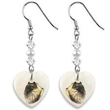 Keeshond Dog 925 Sterling Silver Heart Mother Of Pearl Dangle Earrings EP241