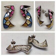Ohrringe 925er Silber Mosaik bunte Steine Ohrschmuck Silberohrringe