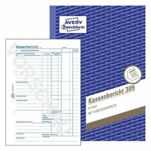 10Stück Zweckform 305 Kassenbericht Kassen Formular Buchführung A5 Kasse Bericht