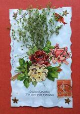 CPA. 1er Avril. Ajoutis Chromos Roses Poisson Etoiles. Graminées. Fond Moiré.