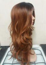 Brown Human Hair Wig, Real Hair, side fringe, Ombré, Brunette, Lace Front