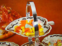 Etagere Silber 27x14 Schale mit 3 Fach Verchromt cake Stand Schale Metall