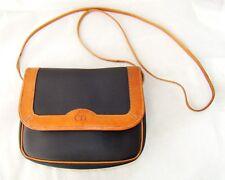 DIOR vintage messenger shoulder bag purse pack brown blue monogram leather