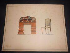 1900 Acquerello raffigurante Mobile Gerson & Wolff Stuttgard Germania n°2