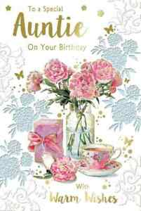 """To a Special Auntie On Your Birthday. Large Card 9"""" x 6""""."""