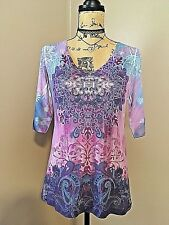 Apt 9 Top Sz L Henley Psychedelic Hippy Sparkle Studs Colorful Stretch Colorful
