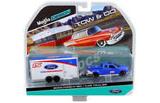 MAISTO  TOW & GO 2004 FORD F-150 PICK UP WITH CAR TRAILER 1/64 BLUE WHITE 15368J