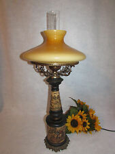 "PARLOR TABLE LAMP HAND MADE IN ITALY FLORENTINE W MUSTARD COLOR SHADE 30"" TALL"