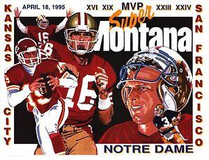 "SPORTS POSTER~Joe Montana ""Super Joe"" 1995 Profile 49ers Chiefs Notre Dame Irish"