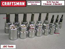 CRAFTSMAN 16pc LOT 1/4 3/8 Torx / Star E External bit ratchet wrench socket set