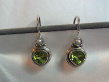 WHITE PEARL WITH PERIDOT STERLING SILVER EARRINGS - NEW (LAST ONES)