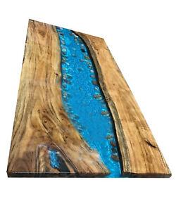 Wooden Walnut Table Blue Epoxy Furniture Decorative  Resin Dining,Living Garden