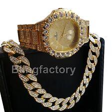 Men's Hip Hop Iced Quavo Big CZ WATCH & Full Iced Cuban Choker Necklace Set