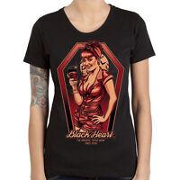 Ladies-Black Heart-Rockabilly-Greaser-Psychobilly-Biker-Bloody Bitch-T Shirt !!