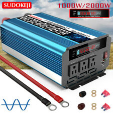 1000W/2000W Pure Sine Wave Power Inverter Dc 12V To Ac 110V 120V Lcd Car Truck